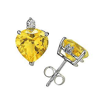6mm Heart Citrine and Diamond Stud Earrings in 14K White Gold