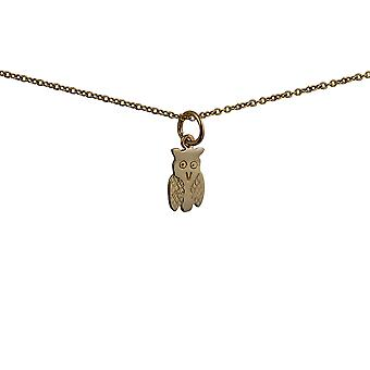 9ct Gold 11x7mm Owl Pendant with a cable Chain 16 inches Only Suitable for Children