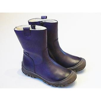 Froddo Girls Durable Waterproof Boots - Purple Leather Wool Lined Boots