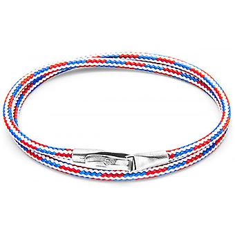 Anchor and Crew Liverpool Silver and Rope Bracelet - Red/White/Blue