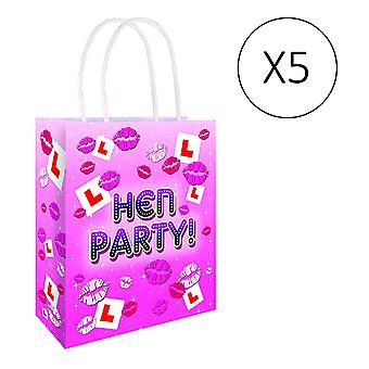 Hen Night Pack of 5 L Plate Pink Paper Hen Party Gift Bags