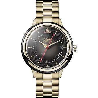 Vivienne Westwood Vv158bkgd Portobello Black & Gold Stainless Steel Ladies Watch