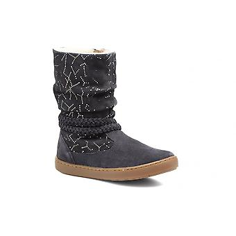 Shoo Pom Play Freeze Girls Navy Suede Wool Lined Stylish Winter Boot