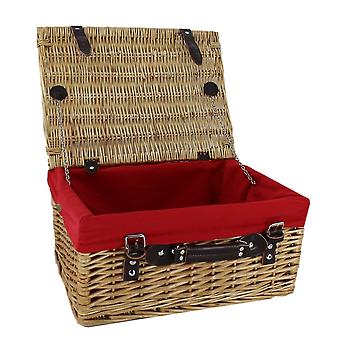 Wicker Picnic Basket with Red Lining