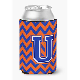 Letter U Chevron Orange and Blue Can or Bottle Hugger
