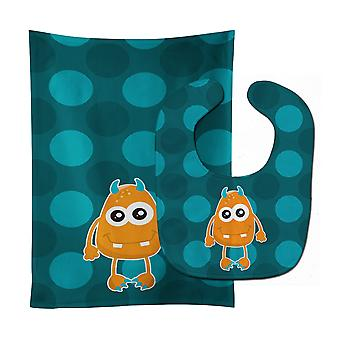 Carolines Treasures  BB8848STBU Monster Orange Baby Bib & Burp Cloth