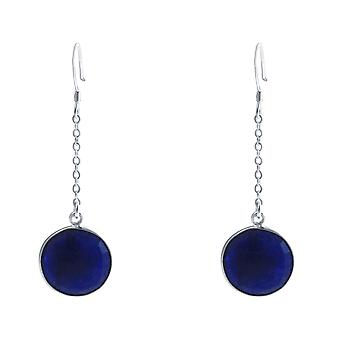 GEMSHINE ladies earrings 925 Silver. 4.5 cm Yoga earrings with blue sapphires, excellent quality and color. Made in Madrid, Spain. Delivered in the elegant jewelry with gift box.