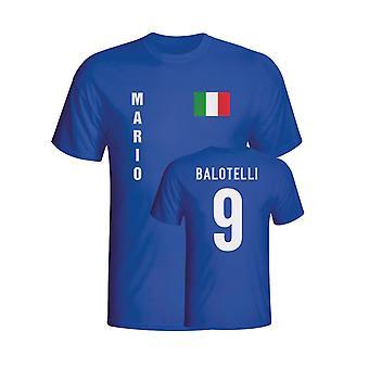 Mario Balotelli Italien Flag T-shirt (blå)