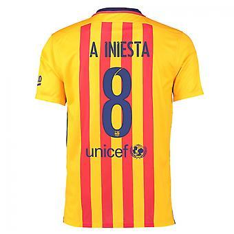 2015-16 Barcelona Away Shirt (Iniesta 8) - Kids