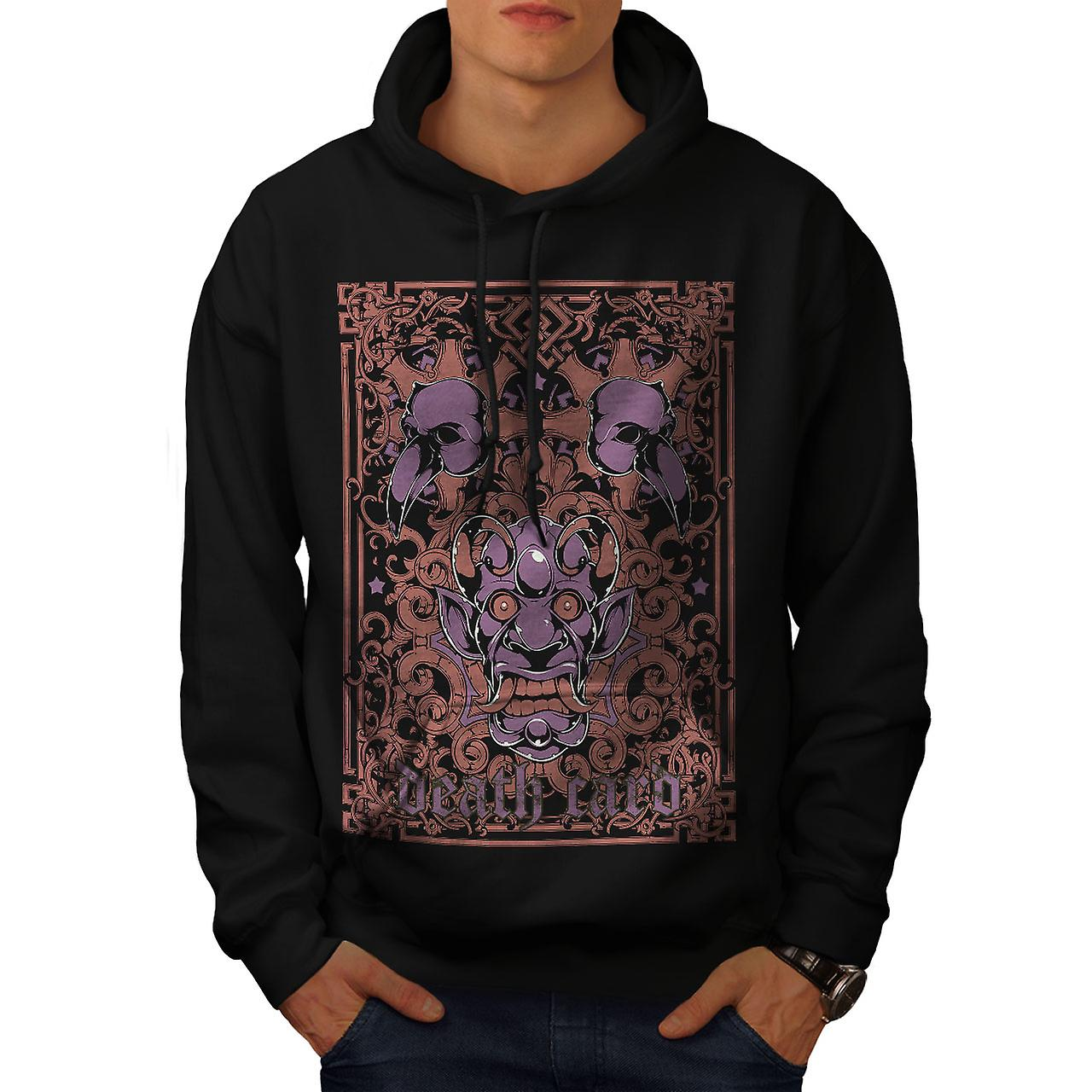 Death Card Devil Horror Men Black Hoodie | Wellcoda