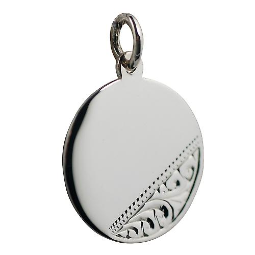 Silver 20mm round Hand engraved Disc