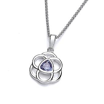 Cavendish French Celtic Silver and Tanzanite CZ Pendant without Chain