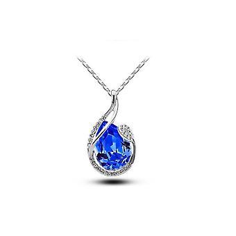 Womens Large Dark Blue Teardrop Stone Pendant Necklace Silver  BG1675