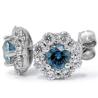2 1/2ct Halo Fire Blue Diamond Studs 14K White Gold