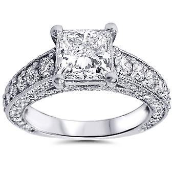 3 3 / 4ct Princess Cut Diamond Engagement Ring 14K hvidguld