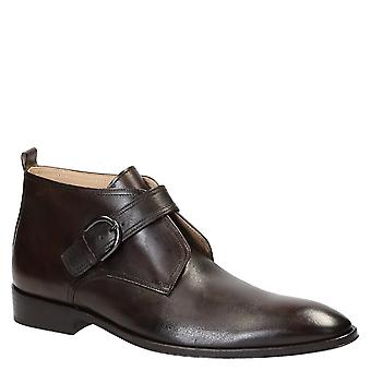 Handmade monk strap boots in dark brown leather