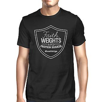 Faith Weights Mens Black Lightweight Cool Cotton T-Shirt For Gifts