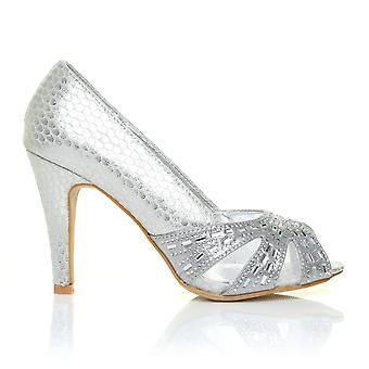 HOLLY Silver Snake Peep Toe High Heel Party Prom Wedding Shoes