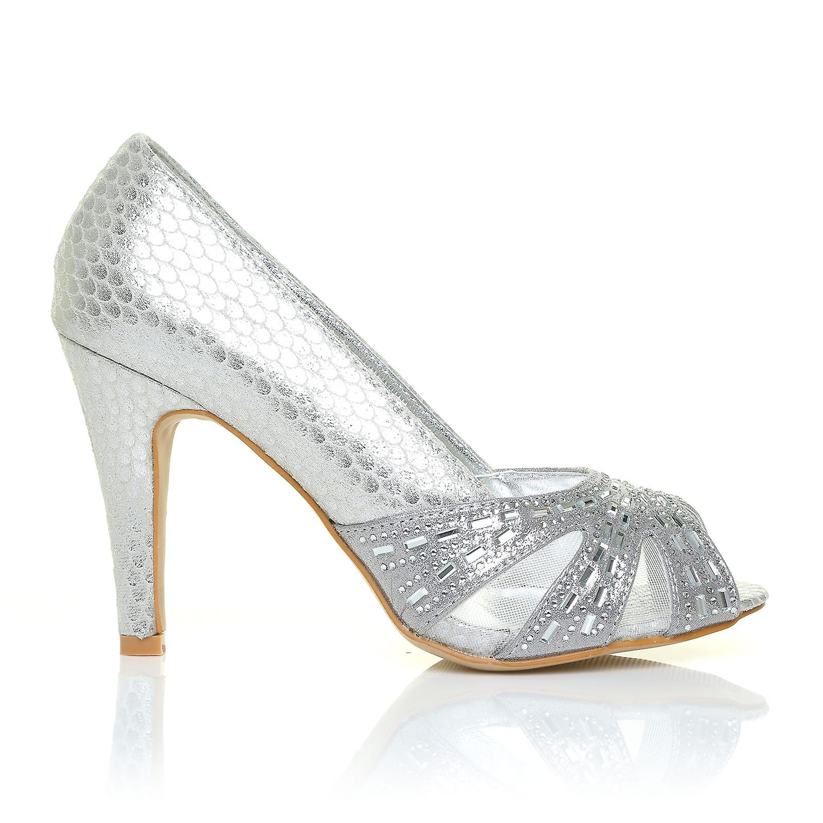 HOLLY Silver Snake Party Peep Toe High Heel Party Snake Prom Wedding Shoes 228edf