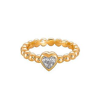 ESPRIT pellet ladies ring Silver Gold cubic zirconia heart ESRG91751B1