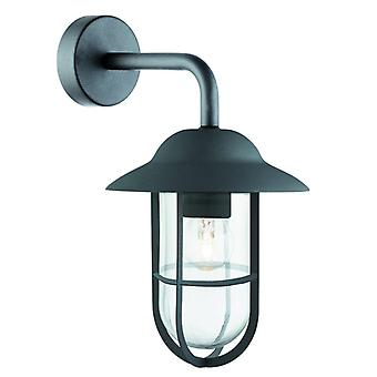 Toronto - 1 Light Outdoor Wall Bracket, Matt Black, Clear Glass