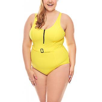 Belly way swimsuit D cup big bust size plus size yellow heine