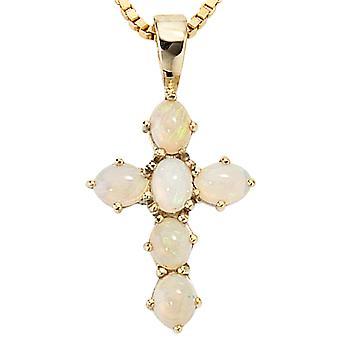 Pendentif Croix 585 jaune or 6 opales KRISTIN symbole