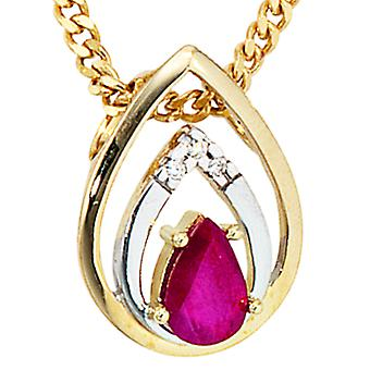 585 /-g-0, 015ct vedhæng. Ruby Ruby vedhæng-guld diamant brilliant