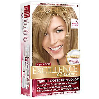 L ' Oreal Paris Excellence Creme Color del pelo, 8 Rubio mediano, 1 Kit