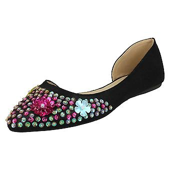 Ladies Spot On Sequin Ballerinas - Black Textile - UK Size 4 - EU Size 37 - US Size 6