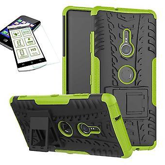 Para Sony Xperia XZ3 verde de híbrido caso 2 pieza bolsa de vidrio templado + caso