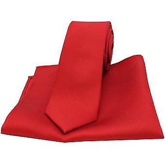 David Van Hagen, correspondência de cetim fina gravata e bolso quadrado conjunto - vermelho