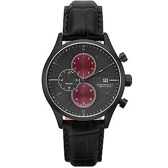 GANT mens leather watch gunmetal