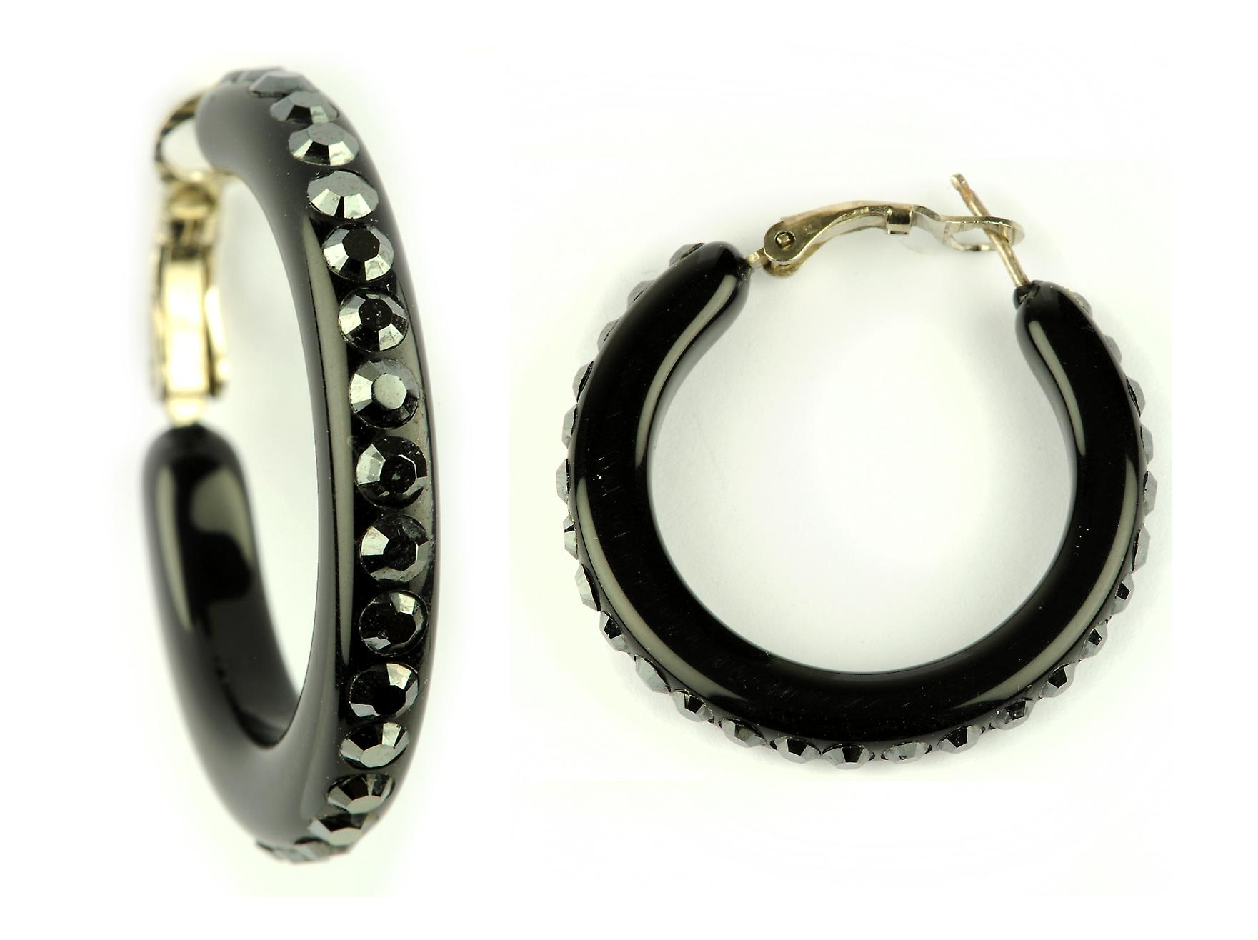 Waooh - Fashion Jewellery - WJ0714 - On Earrings with Swarovski Black Stass - Perspex Black Mount