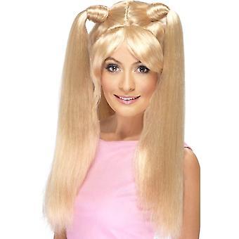 Rubia muy largo Pony colas peluca, peluca de alimentación del bebé, accesorio de disfraces