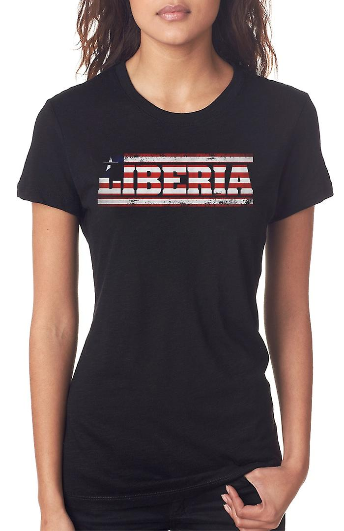 Liberia_Liberian Flag - Words Ladies T Shirt