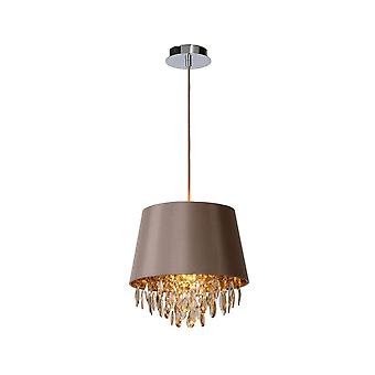 Lucide Dolti Modern Round Acrylic Taupe Pendant Light