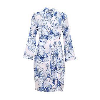Cyberjammies 4105 Women's Isla Pink Leaf Print Dressing Gown Loungewear Bath Robe Kimono