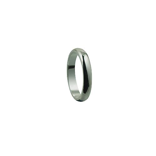 Silver 4mm plain D shaped Wedding Ring Size Q