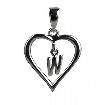 Silver heart Pendant with a hanging Initial w