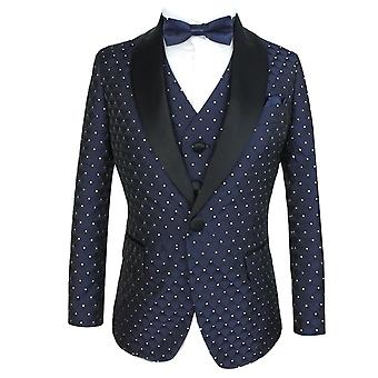 Boys Quilted Satin Dotted Navy Wedding Suit