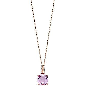 Elements Gold Square Diamond Necklace - Rose Gold/Pink