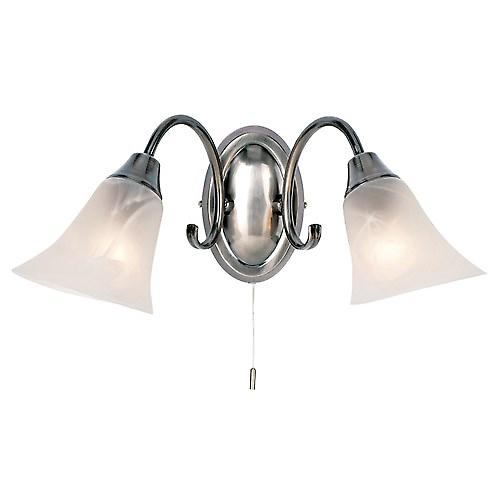 Endon 144-2AS Switched Modern Chrome Double Wall Light