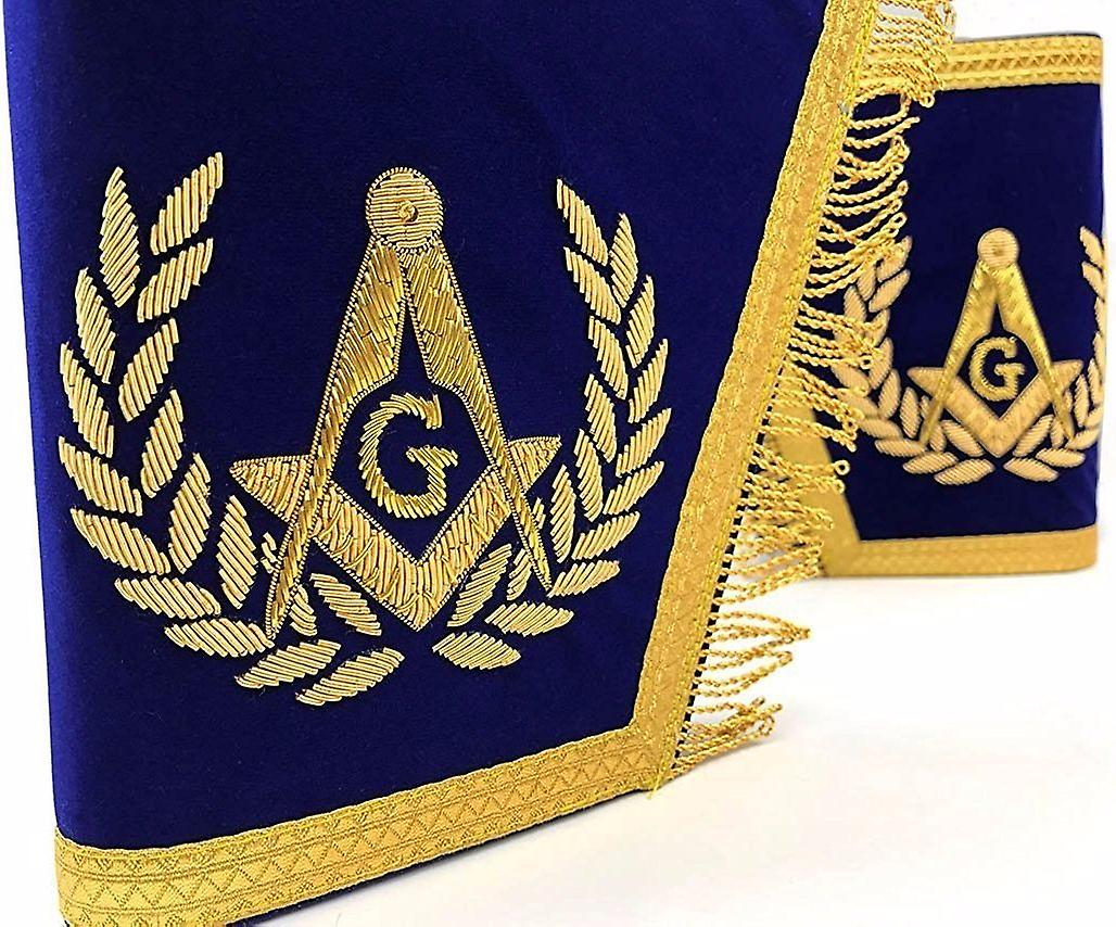 Masonic Gauntlets Cuffs - Embroiderouge With Fbaguee - bleu