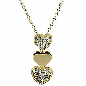 "Park Lane Ladies Goldtone Glass Set Triple Heart Pendant on 16"" Chain"