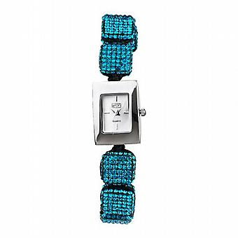 Eton Aqua Crystal Cube Ajustable Bracelet Strap Ladies Fashion Watch 3020L