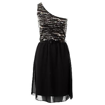 Damen One Shoulder Abend Sequin Chiffon Womens Party-Kleid mit Gürtel