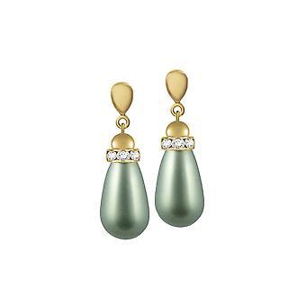 Eternal Collection Beaumont Powder Green Austrian Pearl Gold Tone Drop Pierced Earrings