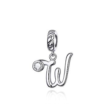 Sterling silver pendant charm letter W