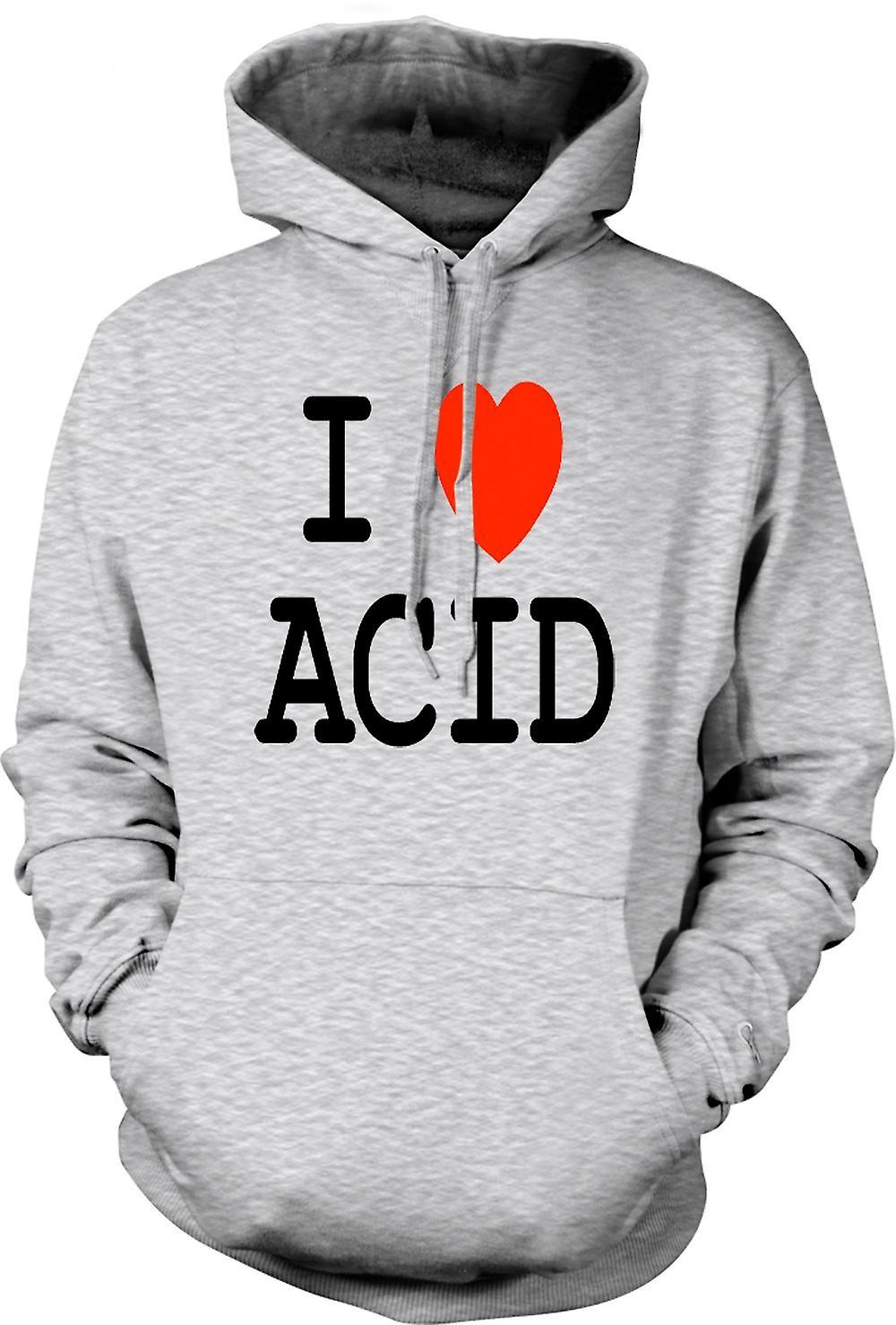 Para hombre con capucha - te amo corazón ácido - gracioso